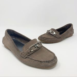 Coach Fortunata Taupe Suede Driving Flat Loafers 7